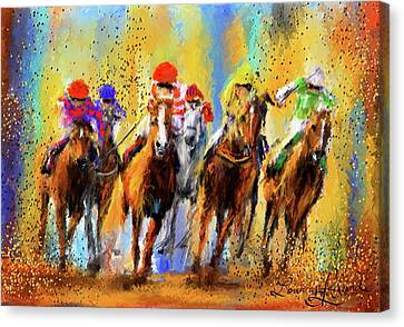 Colorful Horse Racing Impressionist Paintings Canvas Print by Lourry Legarde