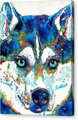 Colorful Husky Dog Art By Sharon Cummings Canvas Print by Sharon Cummings
