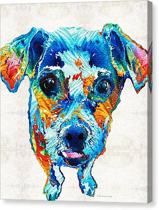 Colorful Little Dog Pop Art By Sharon Cummings Canvas Print by Sharon Cummings