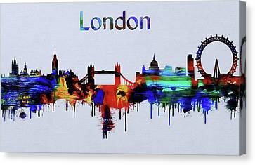 Colorful London Skyline Silhouette Canvas Print by Dan Sproul
