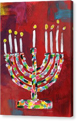 Colorful Menorah- Art By Linda Woods Canvas Print by Linda Woods