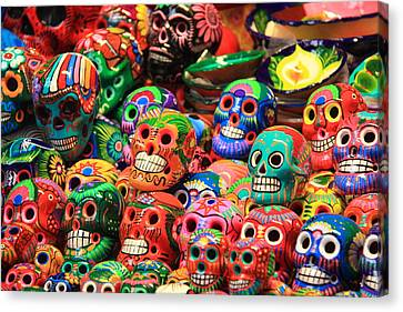 Colorful Mexican Day Of The Dean Ceramic Skulls Canvas Print by Roupen  Baker