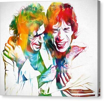 Mick Jagger Poster Canvas Print featuring the painting Colorful Mick And Keith by Dan Sproul