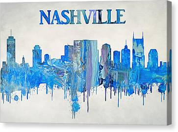 Colorful Nashville Skyline Silhouette Canvas Print by Dan Sproul