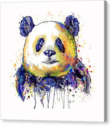 Colorful Panda Head Canvas Print by Marian Voicu