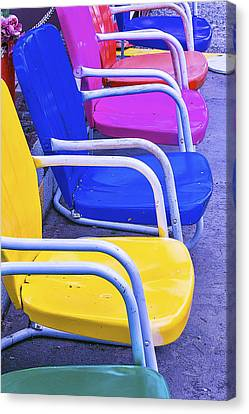 Colorful Patio Chairs Canvas Print by Garry Gay
