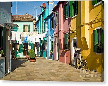 Colorful Piazza Canvas Print by Prints of Italy