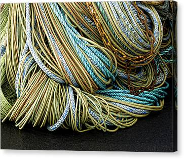 Colorful Pile Of Fishing Nets And Ropes Canvas Print by Carol Leigh