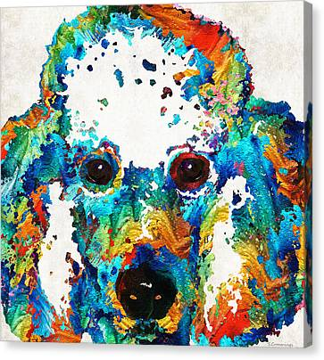 Colorful Poodle Dog Art By Sharon Cummings Canvas Print by Sharon Cummings
