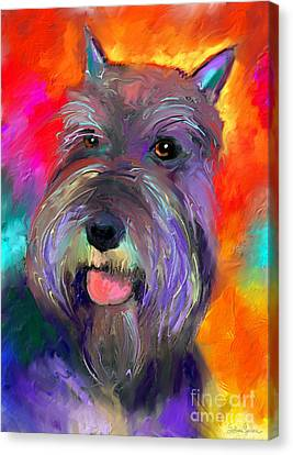 Colorful Schnauzer Dog Portrait Print Canvas Print by Svetlana Novikova