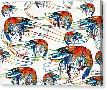 Colorful Shrimp Collage Art By Sharon Cummings Canvas Print by Sharon Cummings
