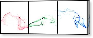 Colorful Smoke II - Rgb Triptych Canvas Print by Scott Norris