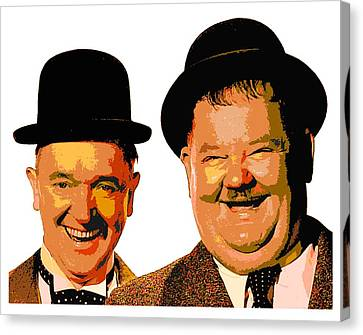 Colorful Stan And Ollie  Canvas Print by Samuel Majcen