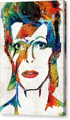 Colorful Star - David Bowie Tribute  Canvas Print by Sharon Cummings