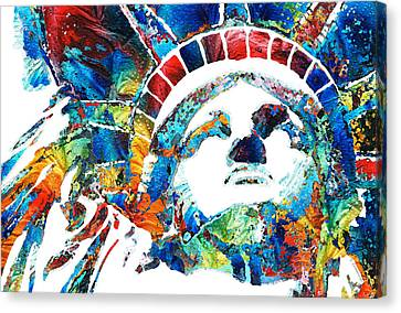 Colorful Statue Of Liberty - Sharon Cummings Canvas Print by Sharon Cummings