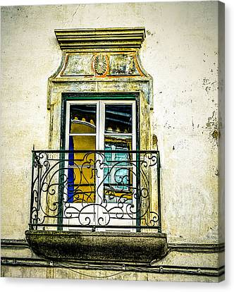 Colorful Window Reflections In Portugal Canvas Print by Marion McCristall