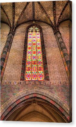 Coloured Glass In The Church Of The Jacobins In Toulouse Canvas Print by Semmick Photo
