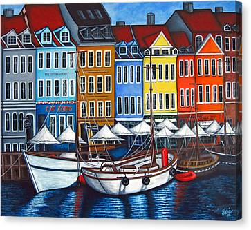 Colours Of Nyhavn Canvas Print by Lisa  Lorenz