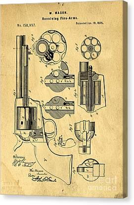 Colt Peacemaker Patent Art Blueprint Drawing Canvas Print by Edward Fielding