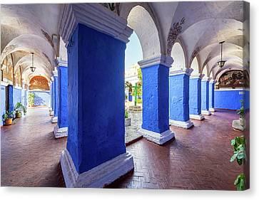 Columns In Santa Catalina Monastery Canvas Print by Jess Kraft