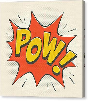 Comic Pow On Off White Canvas Print by Mitch Frey