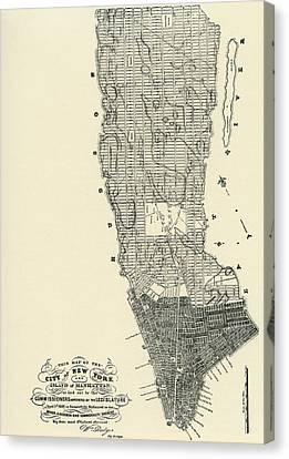 Commissioners' Map Of Manhattan, 1811 Canvas Print by American School