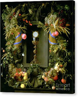 Communion Cup And Host Encircled With A Garland Of Fruit Canvas Print by Jan Davidsz de  Heem