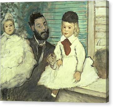 Comte Le Pic And His Sons Canvas Print by Edgar Degas
