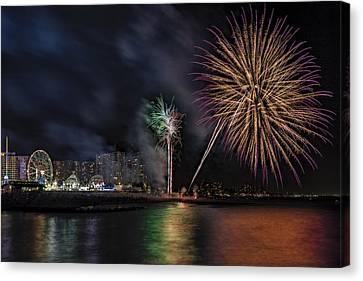 Coney Island Boardwalk Fireworks Canvas Print by Susan Candelario