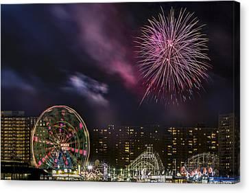 Coney Island Fireworks Canvas Print by Susan Candelario