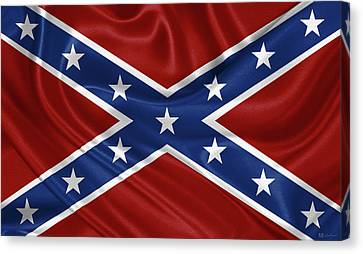 Confederate Flag - Second Confederate Navy Jack And The Battle Flag Of Northern Virginia Canvas Print by Serge Averbukh