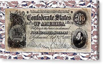Confederate Money Canvas Print by Susan Leggett