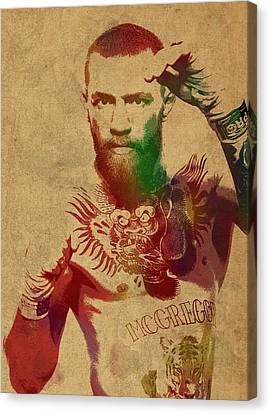 Conor Mcgregor Ufc Fighter Mma Watercolor Portrait On Old Canvas Canvas Print by Design Turnpike