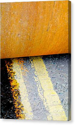 Construction 03 - Hamm Roller On Double Yellow Lines Canvas Print by Pete Edmunds