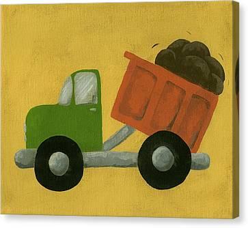 Construction Dump Truck Nursery Art Canvas Print by Katie Carlsruh