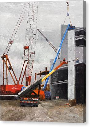 Construction Study In Grey Canvas Print by Nancy Albrecht