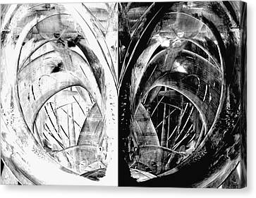 Contemporary Art - Black And White Embers 1 - Sharon Cummings Canvas Print by Sharon Cummings