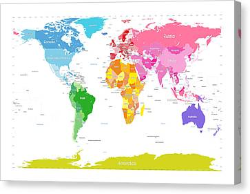 Continents World Map Large Text For Kids Canvas Print by Michael Tompsett