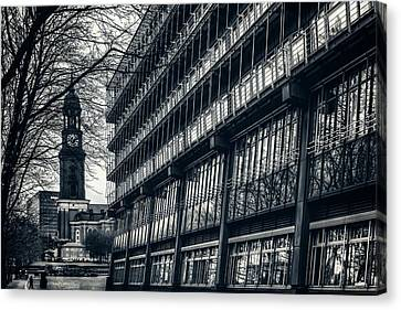 Contrasting Architecture Of Hamburg  Canvas Print by Carol Japp