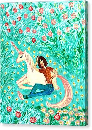 Conversation With A Unicorn Canvas Print by Sushila Burgess