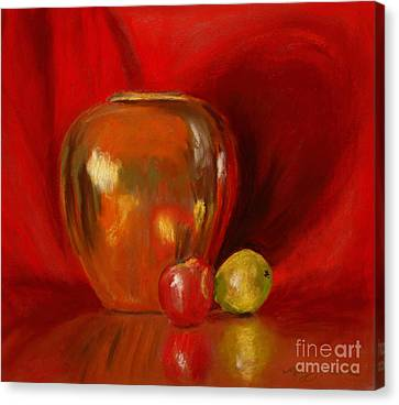 Copper Pot And Fruit Canvas Print by Mary Benke