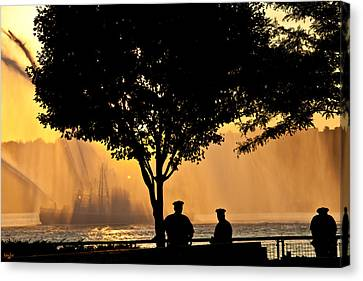 Cops Watch A Fireboat On The Hudson River Canvas Print by Chris Lord