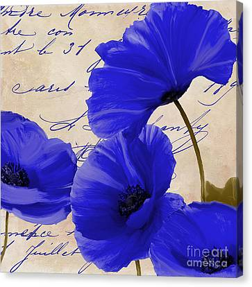 Coquelicots Bleue Canvas Print by Mindy Sommers