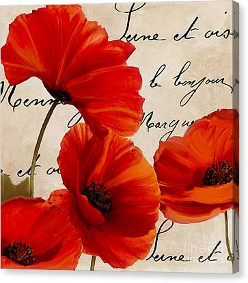 Coquelicots Rouge I Canvas Print by Mindy Sommers