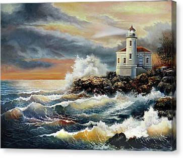 Coquille River Lighthouse At Hightide Canvas Print by Regina Femrite