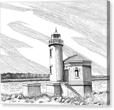 Coquille River Lighthouse Canvas Print by Lawrence Tripoli