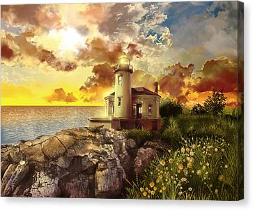 Coquille River Lighthouse Canvas Print by Bekim Art