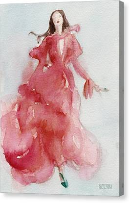 Coral Evening Dress Canvas Print by Beverly Brown Prints