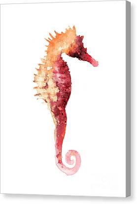 Coral Seahorse Watercolor Painting Canvas Print by Joanna Szmerdt