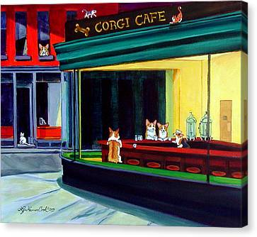 Corgi Cafe After Hopper Canvas Print by Lyn Cook